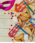 background-jewish-holiday-purim-mask-hamantaschen-cookies-wooden-table-49389057